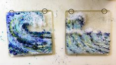Inspired by the Japanese woodblock print The Great Wave by Hokusai, I wanted to create some glass waves. My finished fused glass waves. Crashing Waves, Suncatchers, Fused Glass, Glass Art, Mosaic, Ocean, Create, Hot, Handmade