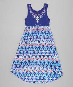 Navy Geometric Hi-Low Dress - Girls by Star Ride #zulily #zulilyfinds