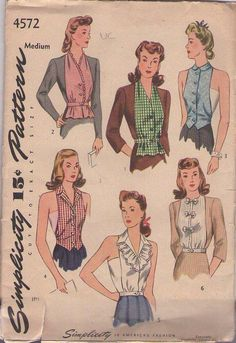 MOMSPatterns Vintage Sewing Patterns - Simplicity 4572 Vintage 40's Sewing Pattern FANTASTIC WW2 Era Wartime Dickie Dickey Blouse, Topper, Sun Back Vestee Set Size M
