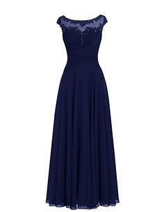 Dresstells® Long Chiffon Scoop Prom Dress with Appliques Wedding Dress Evening Party Dress