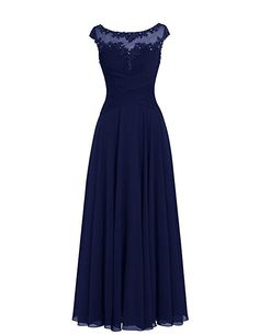 Dresstells® Long Chiffon Scoop Prom Dress with Appliques Wedding Dress Evening Party Dress