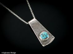 Turquoise and sterling silver necklace - www.lajeannedesign.com