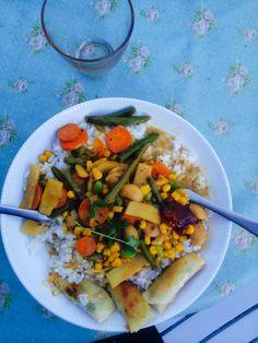 Carrot. Beans. Corn. Rice. Mango Chutney. Coconut-milk.