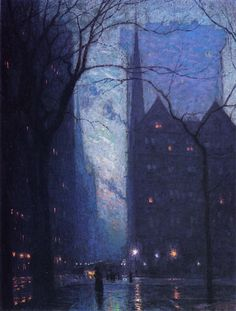 Fifth Avenue at Twilight (1909) - Lowell Birge Harrison