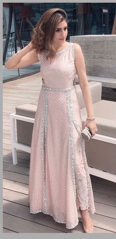 Sequined slit suit in blush pink
