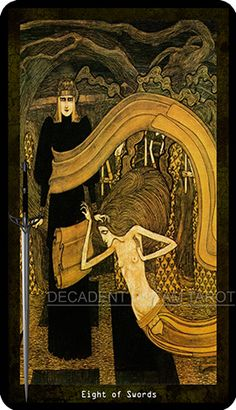 The Decadent Dream Tarot pays homage to artists of the later Victorian era, in particular those from the Pre-Raphaelite, Symbolist, Decadent and Art Nouveau movements. Artworks from the era have been carefully chosen to match each of the 78 cards.