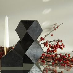Modern Candleholders |  Medium Size Black Wood Candleholder. Space for either a taper or tealight.