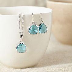 Silver Turquoise Gemstone Set - necklaces & pendants