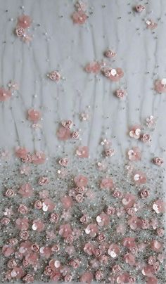 Haute couture fabric hand embroidered ribbon and sequin flowers on tule Tambour Beading, Tambour Embroidery, Bead Embroidery Patterns, Hand Work Embroidery, Couture Embroidery, Embroidery Fashion, Hand Embroidery Designs, Ribbon Embroidery, Sequin Embroidery