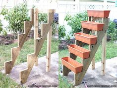 20+ Creative DIY Vertical Gardens For Your Home --> Vertical Planter Structure Like a Staircase