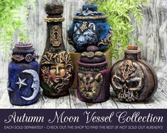 Bast Cat Goddess Apothecary Jar Potion Bottle / Witchy Gifts Gothic Home Decor Wiccan Altar Statue Bowl Pagan Altar Witchy Decor Witchcraft Cat Sculpture Apothecary Decor, Apothecary Bottles, Altered Bottles, Halloween Apothecary Jars, Halloween Potion Bottles, Antique Bottles, Vintage Bottles, Vintage Perfume, Antique Glass
