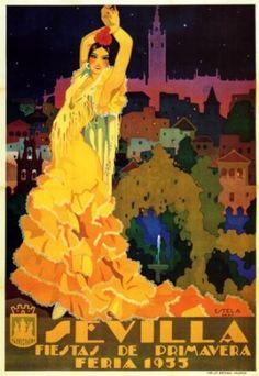 1933 SEVILLA FIESTAS DE PRIMAVERA SPRING FLOWERS EUROPE TRAVEL TOURISM SPAIN LARGE VINTAGE POSTER REPRO