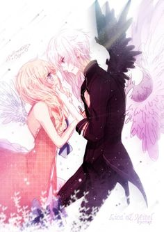 Anime couple. They look so cute together. An angel falling in love with a demon. Oh, Love is So blind. ;)