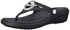 crocs Women's Sanrah Circle Bow Flip Wedge >>> See this awesome image  : Flip flops
