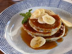 Blue Corn Pancakes with Piloncillo Syrup and Passion Fruit Butter recipe from Bobby Flay via Food Network