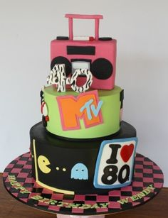 80's Cake...could do this for the 70s for someone special..;)