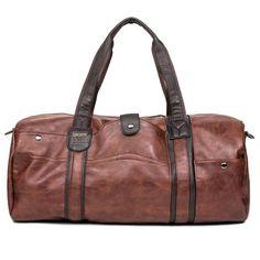 d57f0f60c1f3 Men s Large Capacity PU Leather Sports Bag Gym Bag Fitness Sport Bags  Duffel Tote Travel Shoulder Handbag Male Bag Black Brown