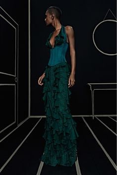 PRE FALL Balmain 2016 - Frilled turquoise dress and blue corset