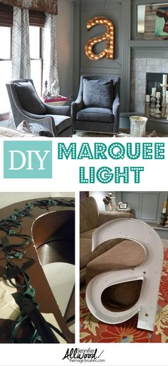 We DIY'd a marquee light out of a garage sale find! - Jennifer Allwood Home Diy Marquee Letters, Marquee Lights, Living Room Light Fixtures, Living Room Lighting, Commercial Signs, Do It Yourself Design, Home Projects, Pallet Projects, Garage Sale Finds