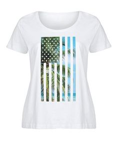 This White Beach-Fill Flag Scoop Neck Tee - Plus is perfect! #zulilyfinds