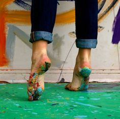 I prefer painting barefoot, because I like being aware if I step in paint rather than tracking it all over the house on the bottom of my shoes. It's like a gentle, washable battle scar ~ of the creative battle that I won.