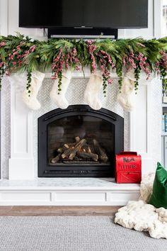 Natural Greenery Mantel Christmas Decor with faux Fur stockings Natural Greenery Mantel Christmas Decor with faux Fur stockings #NaturalChristmas #Greenery #Mantel #ChristmasDecor #fauxFurstockings