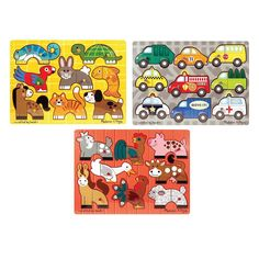Melissa and Doug Mix 'N Match Puzzle Bundle, Multicolor