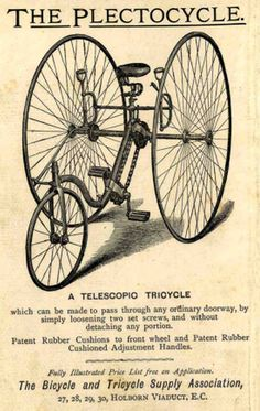 1884 Plectocycle Front-Steering Tricycle (now sold) I owned this machine in 2008.Being some of the first vehicles fitted with a differential gear, high wheeler tricycles such as this were the fore...
