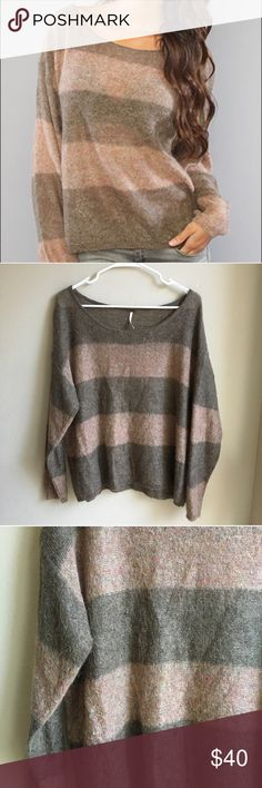 """Free People Oversized Striped Mohair Wool Sweater Excellent Condition! Free People Oversized Sweater. Mohair blend. Thin Knit Sweater. Scoop neck. Wide stripes in Army green and blush pink. Perfect cozy sweater. Size small.  40% Acrylic 35% Nylon 25% Mohair   Approx Measurements ' Length 23.5"""" Armpit to Armpit 26"""" Sleeve 20""""  (25/B1) Free People Sweaters Crew & Scoop Necks"""