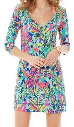 Lilly Pulitzer Palmetto V-Neck T-Shirt Dress in Hot Spot
