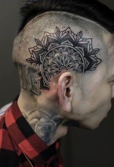 Chronic Ink Tattoo - Toronto Tattoo Custom Mandala tattoo on the side of the head done by Evan.