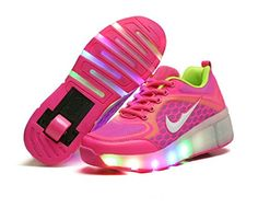 Girls Boys LED Wheel Roller Shoes Retractable Roller Skate Shoes Kids Sneakers -- Check out this great product.