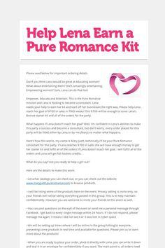 Help Lena Earn a Pure Romance Kit
