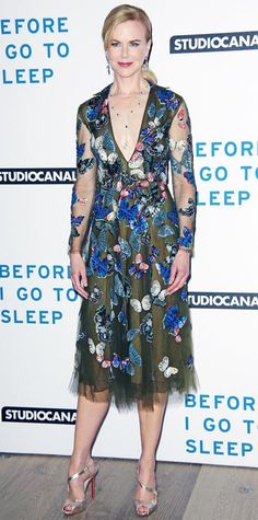 Nicole Kidman at Before I Go To Sleep screening in London in butterfly-embroidered Valentino a lariat necklace, and Louboutin sandals Butterfly Fashion, Butterfly Dress, Nicole Kidman Style, Fashion Fail, Red Carpet Looks, Beautiful Celebrities, Dress To Impress, Designer Dresses, Celebrity Style