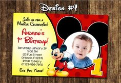 Mickey Mouse Photo Birthday Invitations Elegant Mickey Mouse Baby First Birthday Party Invitations Mickey 1st Birthdays, Mickey Mouse Clubhouse Birthday, Mickey Birthday, Mickey Party, 1st Boy Birthday, First Birthday Parties, Dinosaur Birthday, Elmo Party, Dinosaur Party