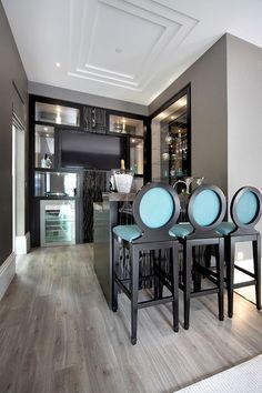 Home Bar desing Basement Bar Designs, Home Bar Designs, Black Kitchen Chairs, Home Cocktail Bar, Kitchen Chair Cushions, Bar A Vin, African Furniture, Game Room Design, Bar Areas