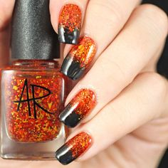 """If you're unfamiliar with nail trends and you hear the words """"coffin nails,"""" what comes to mind? It's not nails with coffins drawn on them. Although, that would be a cute look for Halloween. It's long nails with a square tip, and the look has. Halloween Nail Designs, Halloween Nail Art, Fall Nail Designs, Simple Nail Designs, Nail Polish Designs, Beautiful Nail Designs, Beautiful Nail Art, Creepy Halloween, Beautiful Beautiful"""