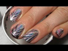 Color Club Chevron Water Marble Nail Art Tutorial - YouTube   I really like these holographic colors!