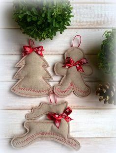linen, burlap, christmas ornaments by CottonAgnes on Etsy