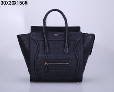 SAC CELINE LUGGAGE MINI MOTIF CROCODILE NOIR 1.Marque  : celine 2.Style  : celine Luggage Mini 3.couleurs : Noir 4.Matériel : Importer en cuir d'origine 5.Taille: W30 x H15 x D30 cm Celine Luggage, Luggage Bags, Crocodile, Mini, Style Inspiration, Handbags, Celine Bag, Colors, Leather