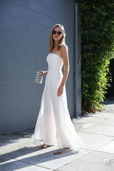 white strapless jumpsuit anniversary outfit