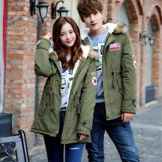 Fashion Women and Men Winter Warm Coat Casual Plus Size Hooded Zipper Up Couple Jackets Outwear Parka Green Red Khaki