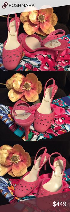 CHRISTIAN LOUBOUTIN Azalea Fuchsia Pink Heel Absolutely authentic brand new Louboutin 3 inch heel. Gorgeous color of dark Fuchsia pink. Versatile perforated suede leather heels. I have tried these on and they look lovely with many colors and styles, and have used the scarf to demonstrate this versatility. Christian Louboutin Shoes Heels
