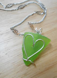 Sea Glass Jewelry  Heart Necklace  I HEART RI by SeaFindDesigns, $20.00
