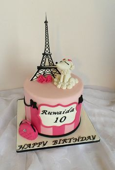 Pretty Image of Paris Birthday Cake . Paris Birthday Cake Paris Themed Birthday Cake With Fondant Poodle Handbag And Eiffel Paris Birthday Cakes, Paris Themed Cakes, Paris Themed Birthday Party, Sweet 16 Birthday Cake, White Birthday Cakes, Cupcake Birthday Cake, Themed Birthday Cakes, Birthday Cake Girls, Cupcake Cakes