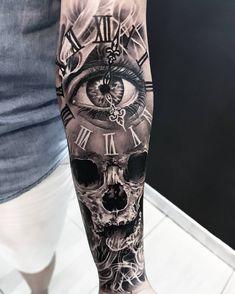 Temporäre Tattoos machen - - to make temporary tattoo crafts ink tattoo tattoo diy tattoo stickers Skull Sleeve Tattoos, Best Sleeve Tattoos, Tattoo Sleeve Designs, Tattoo Designs Men, Sleeve Tattoo For Guys, Clock Tattoo Sleeve, Men Tattoo Sleeves, Clock Tattoos, Clock Tattoo Design