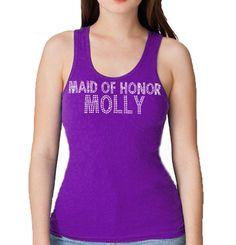 6931775b3e718 Maid of Honor   Name Custom Rhinestone Tank Top