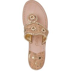 JACK ROGERS Nappa Valley Thong Sandal Gold/Cork ($118) ❤ liked on Polyvore featuring shoes, sandals, metallic sandals, toe post sandals, cork sandals, jack rogers and jack rogers shoes