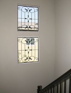 wrought iron leaded glass window