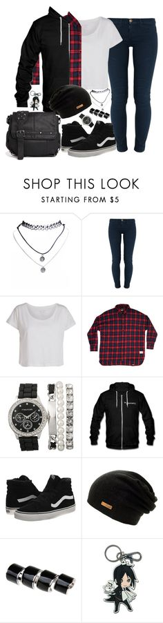 """""""California rest in peace"""" by fernym ❤ liked on Polyvore featuring Wet Seal, Current/Elliott, Pieces, Vans, Maison Margiela, Sebastian Professional, Religion Clothing, vans, lyrics and BlackButler"""